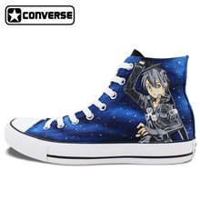 Anime Man Woman Converse All Star SAO Sword Art Online Attack On Titan Design Hand Painted Mens Womens Shoes High Top Sneakers