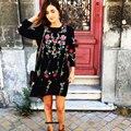 Black dress moda estilo solto bordado floral primavera verão 2017 mulheres elegantes vestidos de manga comprida o pescoço vestidos roupas