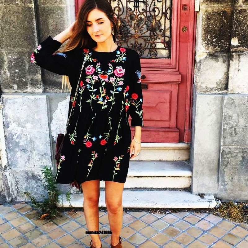 Black Dress Fashion Style Loose Floral Embroidered Long Sleeve O Neck Spring Summer 2017 Elegant