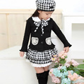 2017 Plaid England Style 3PCS Girls Kids Outfit Bowknot Top Coat + Checked Dress+Hat Dress Clothes 1-6Yr
