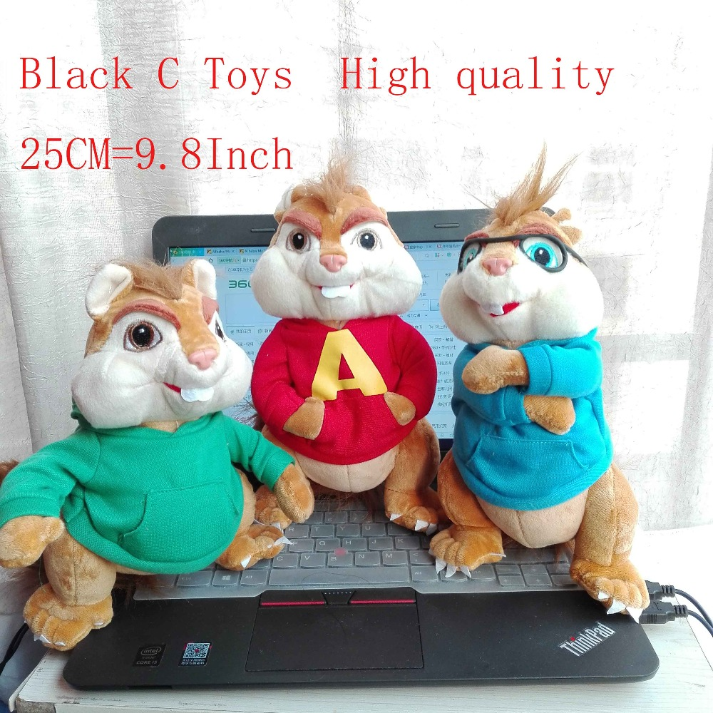 Alvin And The Chipmunks Alvin And Brittany free shipping 1pc alvin and the chipmunks plush toys 25cm