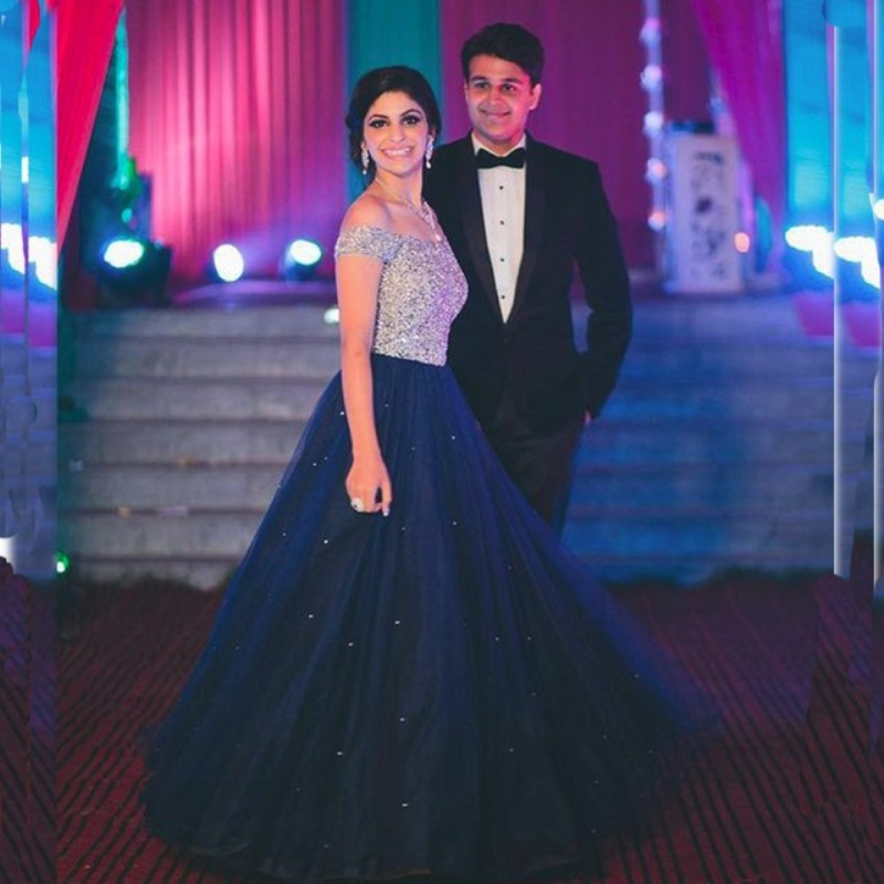 Elegant Navy Blue Prom Gown Beaded Tops A Line Floor Length Dress For Wedding Party Graduation  Robe De Soiree
