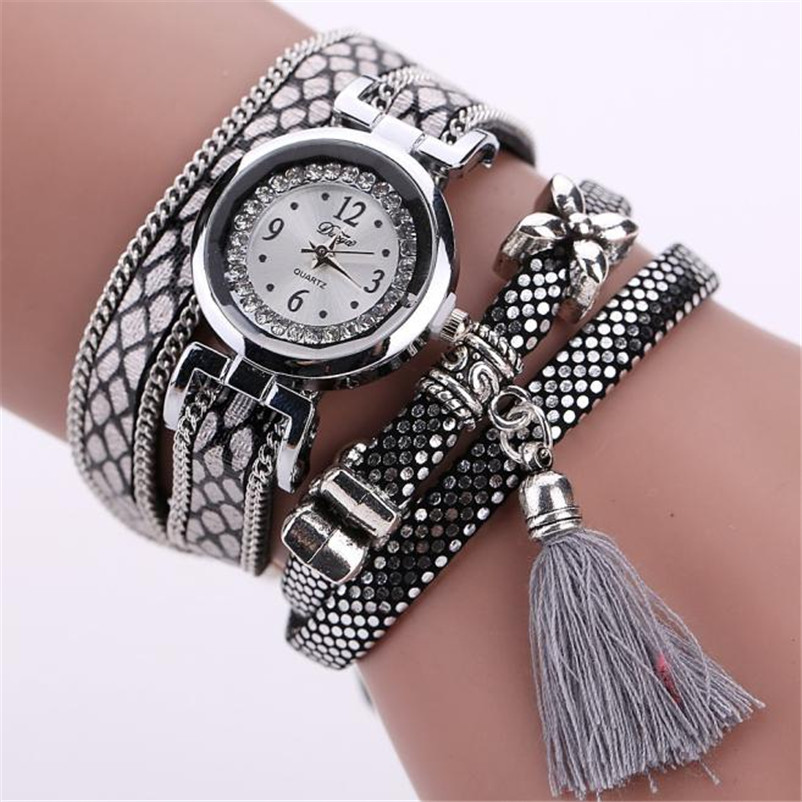 цена на 2018 Duoya New Brand Women's Fashion Ladies Faux Leather Rhinestone Analog Quartz Wrist Watches Bracelet women watches relogio f