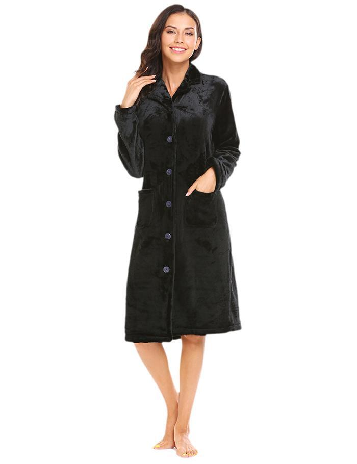 Women\'S Winter Robe Sleepwear Warm Soft Nightwear Lapel Collar Long Sleeve Button Plush Bathrobe Female Home Clothes