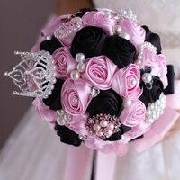 Brooch Bouquet Silk Bride Bridal Imperial crown Wedding Bouquet Bridesmaid pink & black Cloth roses Customizable bouquets
