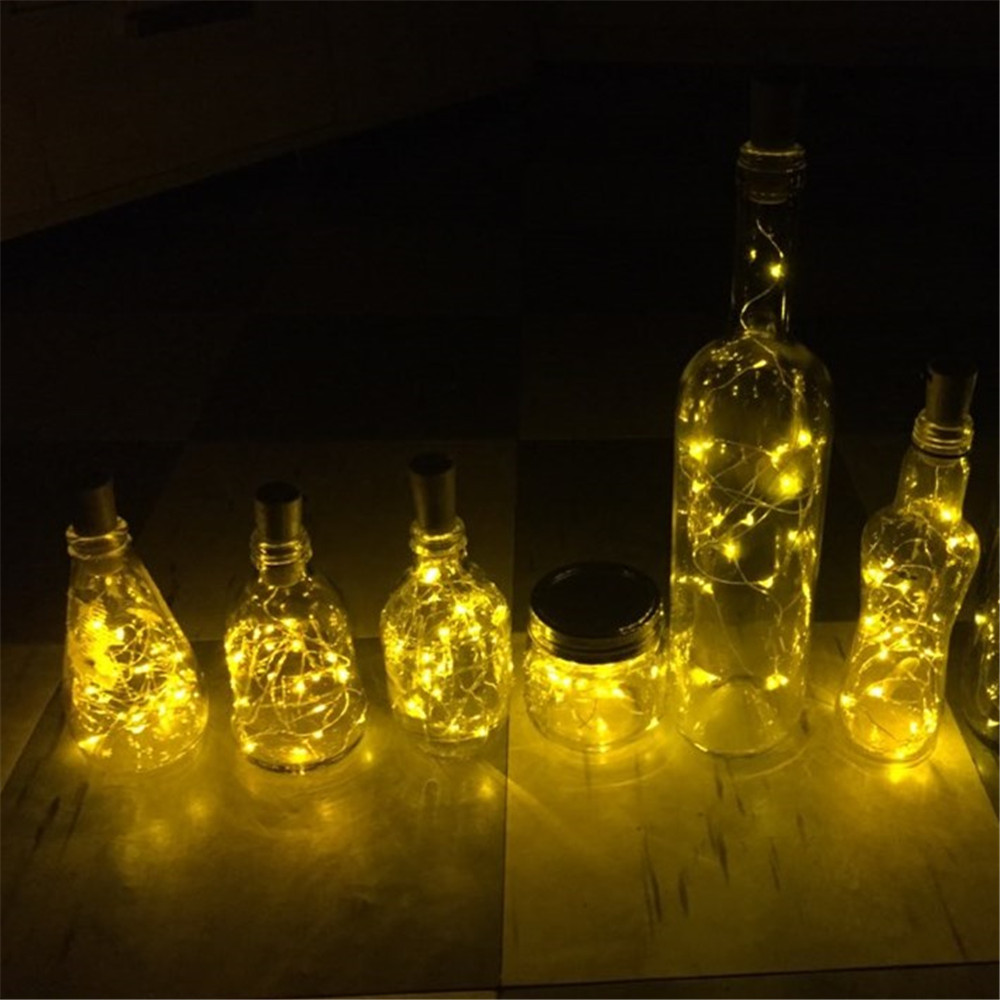 20 LED Wine Jar Bottle Lights Cork Battery Powered Starry DIY Christmas String Lights For Party Halloween Wedding Decoracion