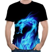 Fashion 3D T shirt summer Fire dragon printing t-shirt casual tshirt