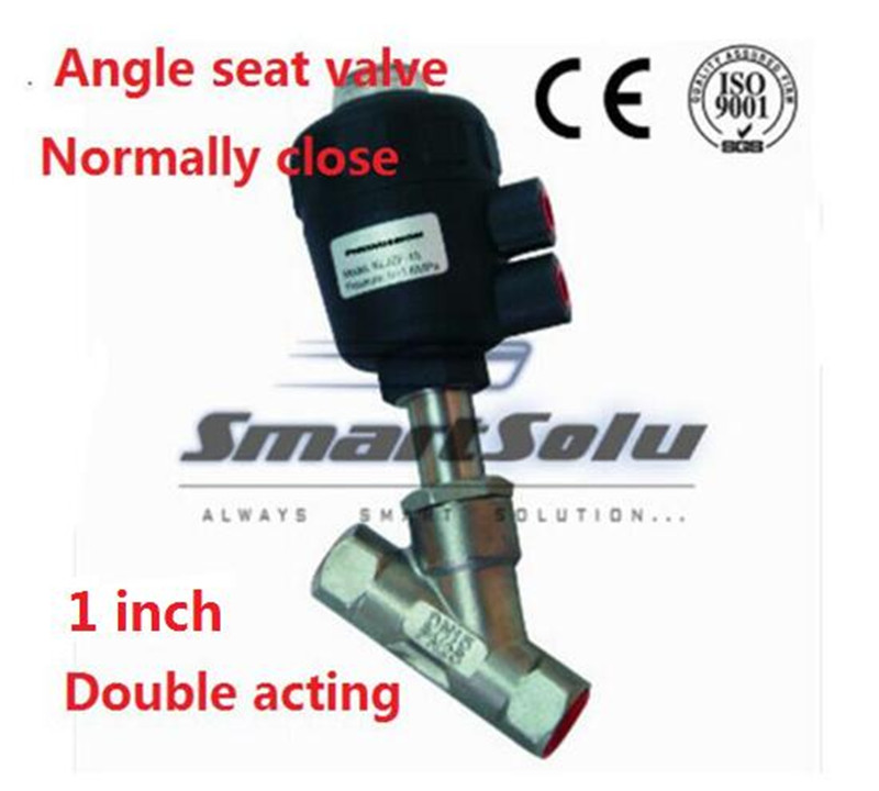 Free shipping Pneumatic actuators plastic angle seat valve DN25 1 inch normally close double acting high temperature valve free shipping pneumatic actuators plastic angle seat valve dn25 1 inch normally close double acting high temperature valve