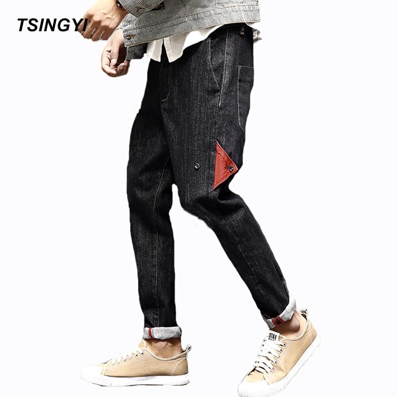 Tsingyi Retro Japan Style Denim Cross-Pants Hip Hop Boys Jeans Men Homme Long Length Jogger Mens Trousers Plus Size 28-42 tsingyi camouflage patchwork denim jeans men homme casual straight pants mid waist long length mens trousers plus size m 5xl