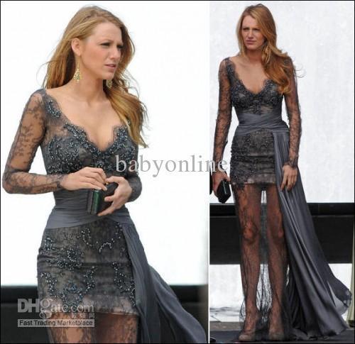 Gossip Girl fashion Blake Lively fashion Zuhair Murad Grey Long Sleeves Lace  Beaded Celebrity Dress 944bf6ec4f48