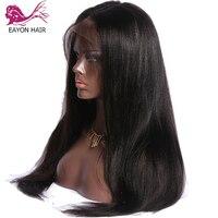 EAYON предварительно выщипать Full Lace парик с детские волосы шелковистые прямые перуанские прямые волосы обесцвеченные парики вида шишка пучок