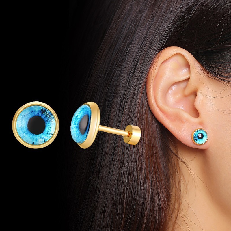 Vnox Blue Eye Stud Earrings for Women Gold Tone Stainless Steel brincos Gifts for Her