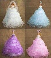 블루/핑크/화이트/퍼플 아름다운 여자 신부 드레스 공주 바비 인형 천사 홈 장식 웨딩 파티 생일 선물 호의