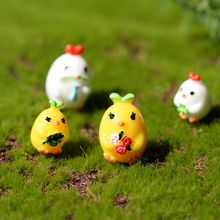 4Pcs/Set Garden Cute Chicks Miniature Resin Figurine Landscape Craft Plant Pot Fairy DIY Ornament