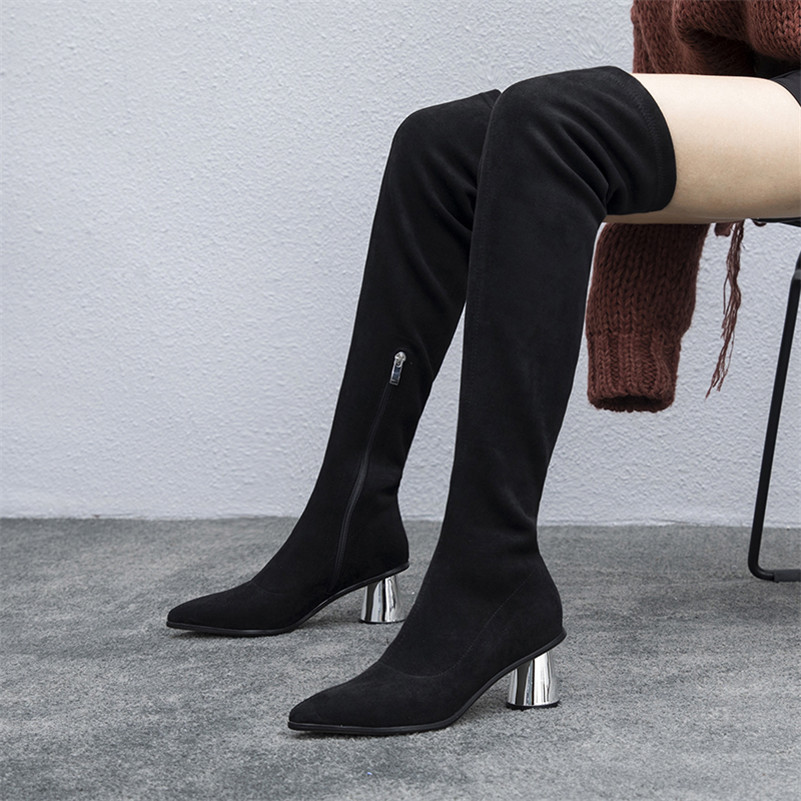 Redonda Boots Black Cremallera Zapatos Botas Punta Altos High 6tt5Twpxq