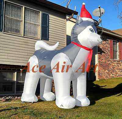 10ft holiday air blown husky dog christmas inflatable wearing santa hat dor christams yard decoration - Husky Christmas Decoration