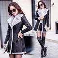 S-2XL 2016 winter new women long PU leather jacket coat female fashion fur collar thick plus cotton slim plus size Windbreaker