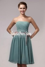 2016 New Cheap Short Bridesmaid Dresses Ruched Sashes/Ribbons A-line Strapless Hot Sale