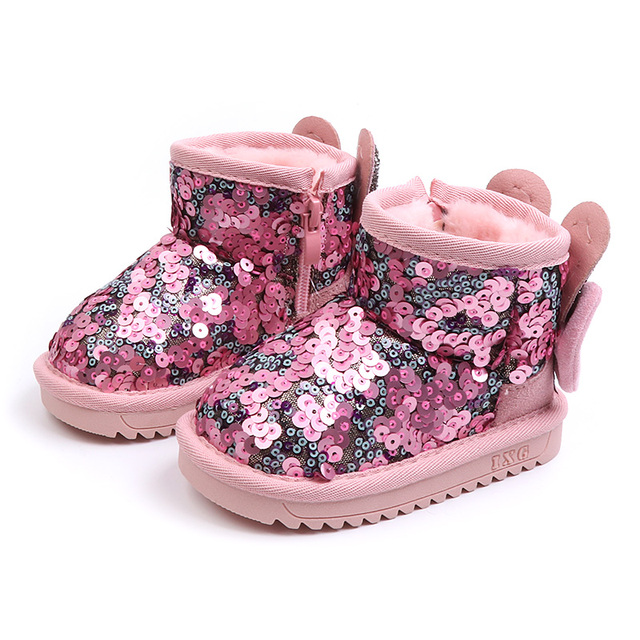 Children's cotton shoes girls 2018 winter Han edition medium tube plus velvet thickened sequins bow tie cute snow boots Girl's Shoes