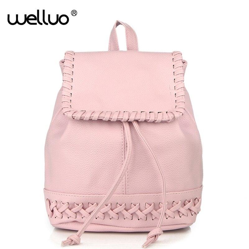 Cute Girls Drawstring Mini Backpack Women Weaving School Bag PU Leather Knitting Backpacks Bags Rucksack Mochila Feminina XA559B