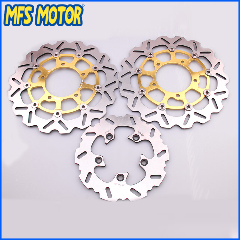 Stainless steel Front Rear Brake Discs Rotor For Suzuki Motorcycle Accessories GSXR 600 750 2006-2008 GSXR 1000 05 06 07 Gold new brand motorcycle accessories gold front brake discs rotor for suzuki gsxr1000 2005 2006 2007 2008