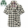 AFS JEEP Summer Breather 100% Cotton Short Sleeve Shirt For Men,Plaid Fashion Design Summer Travel Casual Motorcycle Shirts