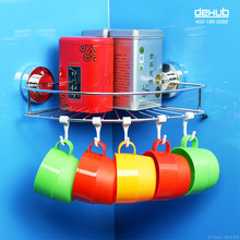 Dehub High Quality Wall Mounted Bathroom Corner Storage Rack Organizer Shower Wall Shelf With Suction Cup Holder Rack