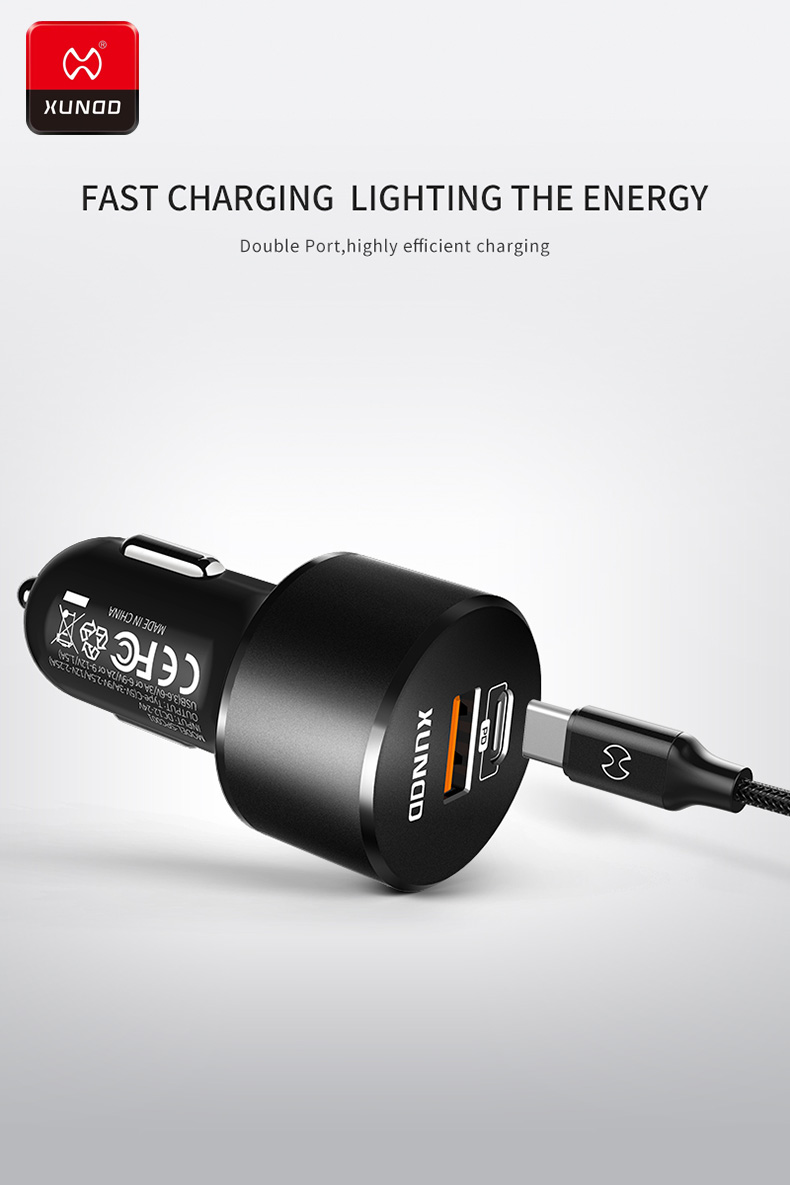 Original Dual USB C PD Quick Charge QC 3 0 Car Charger For Mobile Phone Charger Fast USB PD Type C Car Phone Charger Universal in Car Chargers from Cellphones Telecommunications