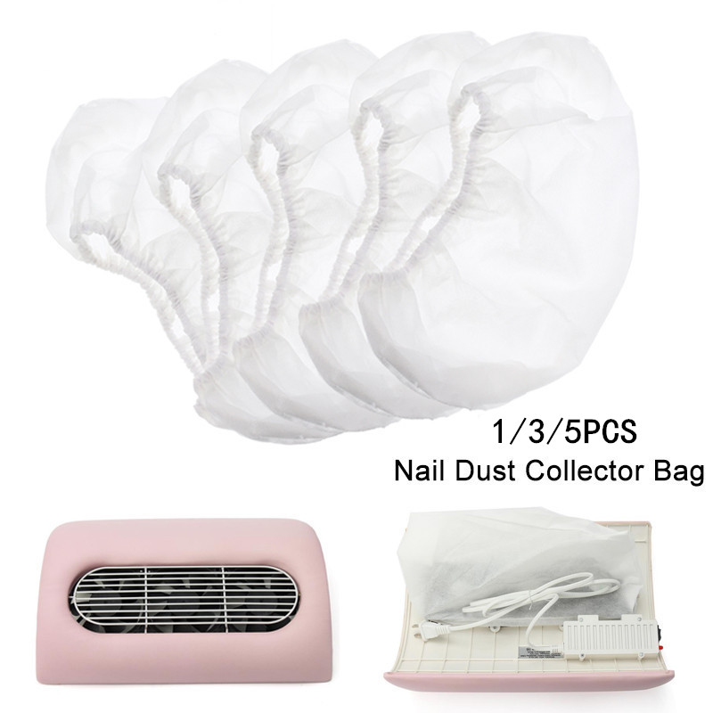 1/3/5PCS Nail Dust Collector Bags White Non-woven Replacement Salon Manicure Art Suction Machine Vacuum Cleaner Cleaning Tool
