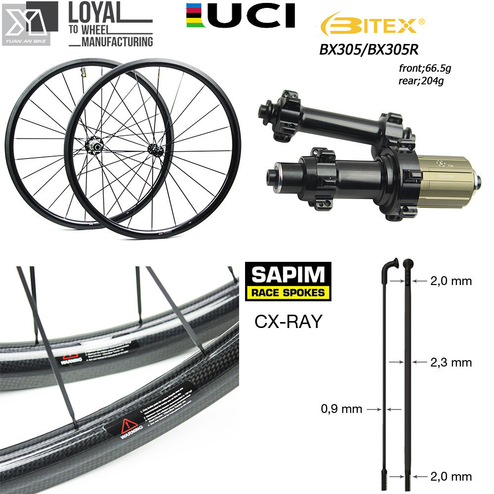 Super Light Weight Carbon Fiber 700C Road Bike Wheel Aero Cycling Wheelset with BITEX 305F 305R