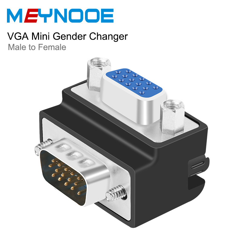 D Sub 15Pin VGA Extender VGA Digital Audio Converter VGA Mini Gender Changer 90 degree Connector 270 Degree VGA Extension Couple