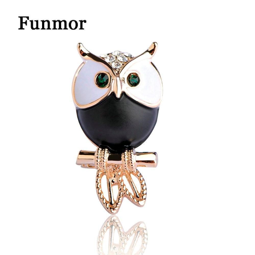Kawaii Green Eyes Owl Shape Brooches Black Enamel Parrot Bird Brooch  Corsage Kids Men Shirt Coat Accessories Scarf Clip Broche cfd69707a594