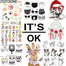 ZOTOONE Cute Various Cartoon Animal DIY Patches Iron on Transfers Children Clothes Bag Flower Decoration Washable Heat Transfer