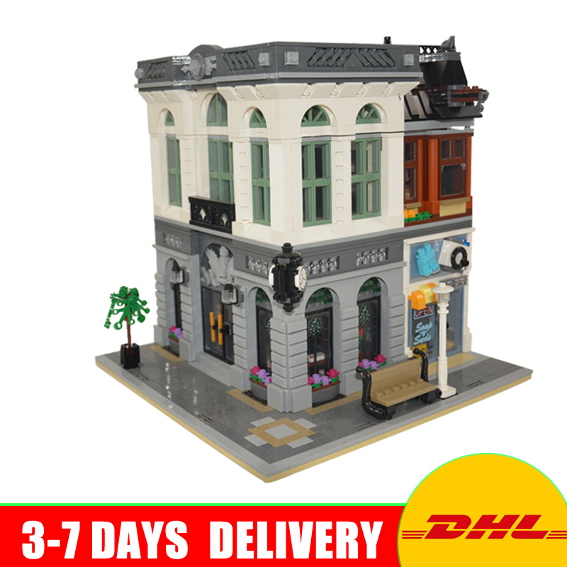 DHL Free  In Stock Lepin 15001 Brick Bank Model Building Kits Blocks Bricks Kits Toys Model Gifts Compatible 10251 free shipping lepin 2791pcs 16002 pirate ship metal beard s sea cow model building kits blocks bricks toys compatible with 70810