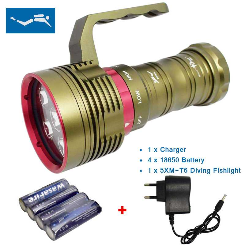 Scuba Diving Flashlight LED Rechargeable 12000 Lumen Underwater Hunting Torch High Power Light Waterproof Flashlights 18650 Lamp 100m underwater diving flashlight led scuba flashlights light torch diver cree xm l2 use 18650 or 26650 rechargeable batteries