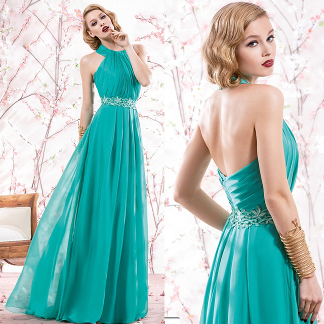 Vestido de verano Jade largo Halter y espalda abierta lf2739 madre ...