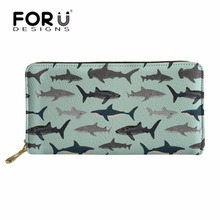 FORUDESIGNS Wallets Women for Credit Card Female Shark Printing Long PU Leather Purse Phone Holder Girls Cute Coin Pouch Wallet natsume yuujinchou natsume takashi cat printing long coin purse pu anime women wallet kawaii female purse student phone bags