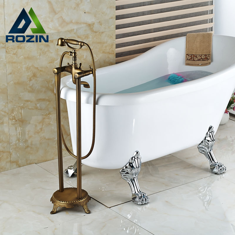 Bathroom Double Handle Floor Mount Free Stand Tub Mixer Faucet With  Handshower Faucet(China (