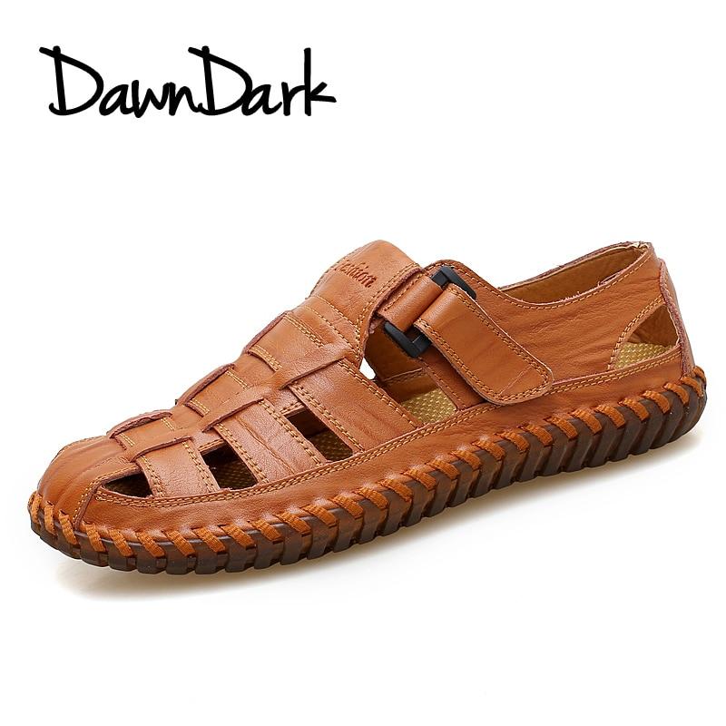 Men Sandals Outdoor Summer Male Split Leather Flat Casual Shoes Slip on Men Fashion Breathable Sandalias Plus Size стоимость