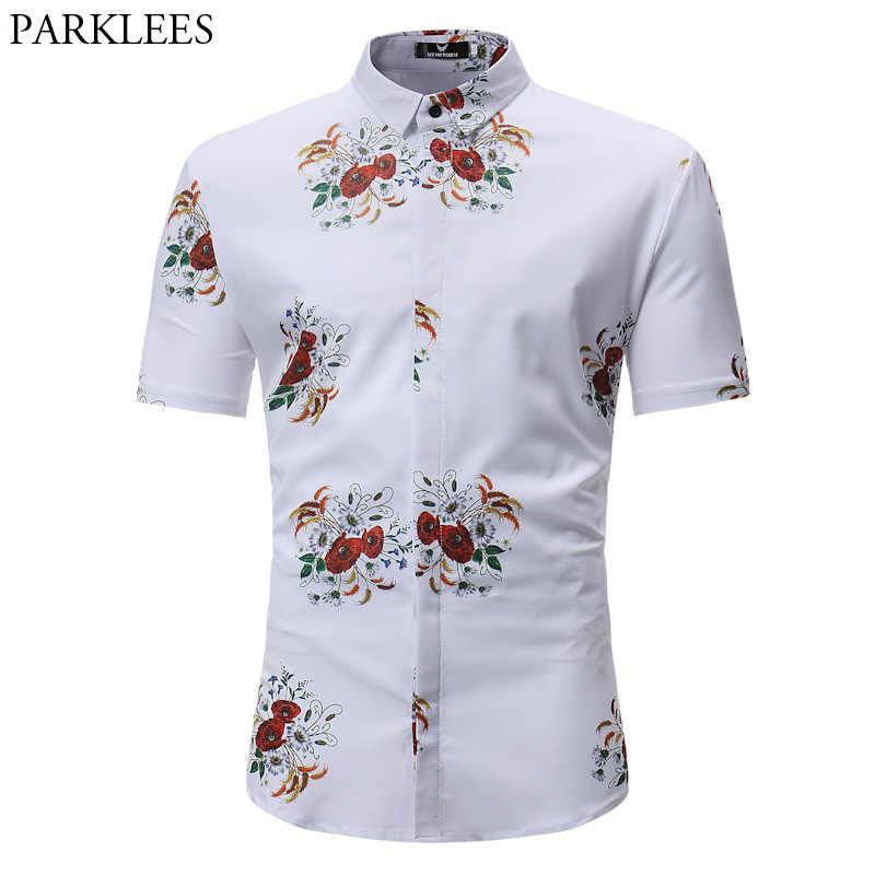 Мужская гавайская рубашка 2018 модная повседневная с коротким рукавом Camisa Masculina печатная пляжная рубашка мужская приталенная белая рубашка с цветочным принтом