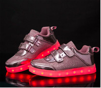 luminous sneakers usb charging basket led kid shoes with lights up shoes for girls&boys LED running slippers glowing sneakers