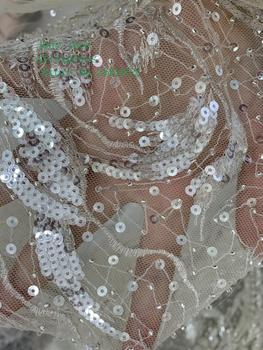 5yards/bag Crystal white jumbled line pattern embroidery beads sequined european-style fabric used for wedding dress fashion image
