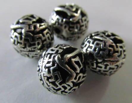 Haute qulity 8 mm 12 pcs Bali main en argent 925 oxydé conception ballon rond charme entretoise perles