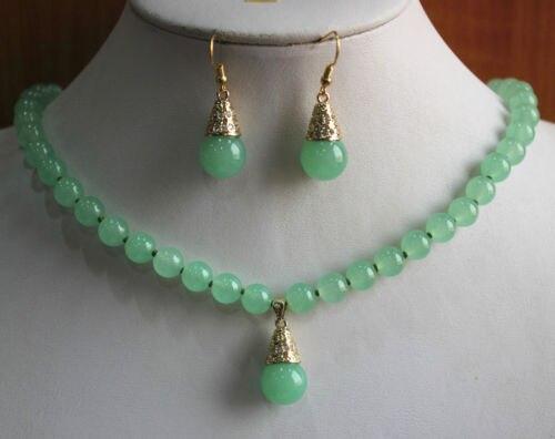 Prett Lovely Women's Wedding New Design 8mm 2 Styles gem/Pearl Hook Necklace Earring&Pendant Jewelry Set G65TY