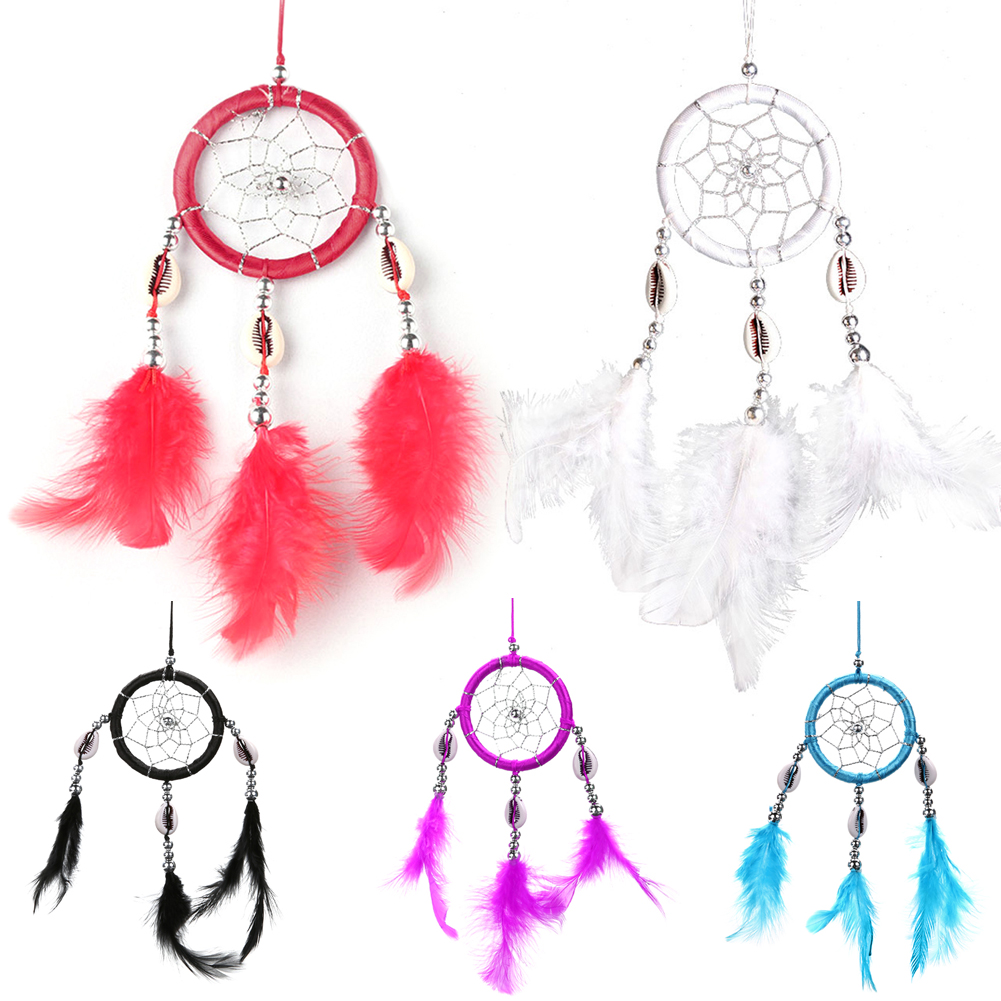 Shell Teeth Feather Crafts Handmade Dream Catcher Net with Bead for Wall Home Decoration Car Hanging Ornament