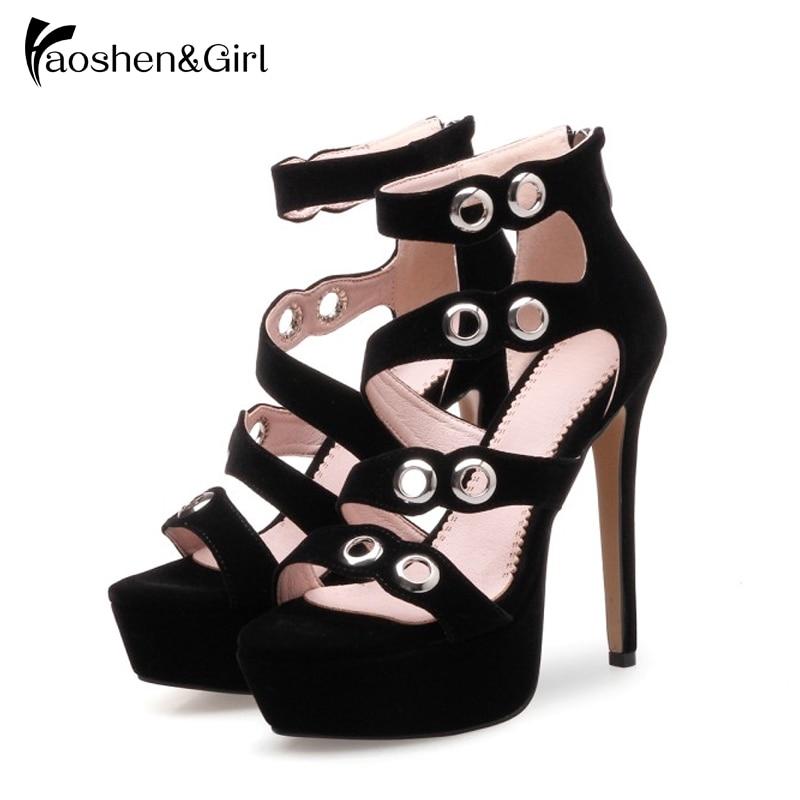 32d99b01fc7 Negro Tacón Las Plataforma Fiesta Sexy De Sandalias Cristal Moda Mujer Tacones  Zapatos Rebaño Alto Mujeres ...