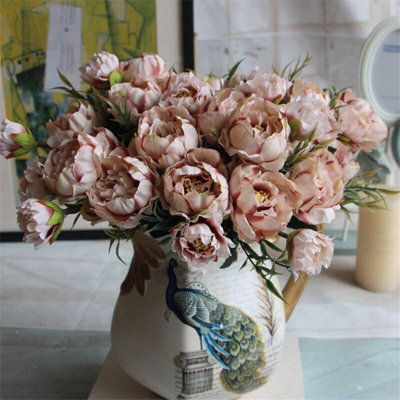 1 Bouquet / 8 Heads Pretty Wedding Mini Rose Artificial Silk Flower Bouquet Flores Bride Home Decoration Cheap Fake Peony Flower