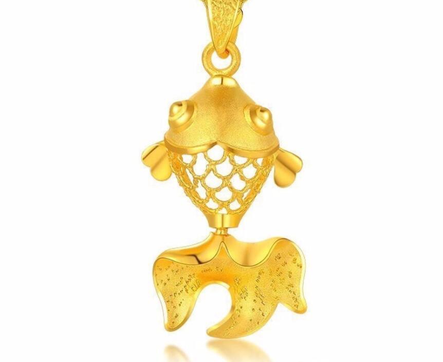 Новые однотонные 999 24 К желтое золото кулон 3D Best подарок симпатичный кулон рыбы