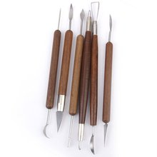 Pottery Clay Sculpture Carving Modeling Tools Wooden Handle Set of 6pcs