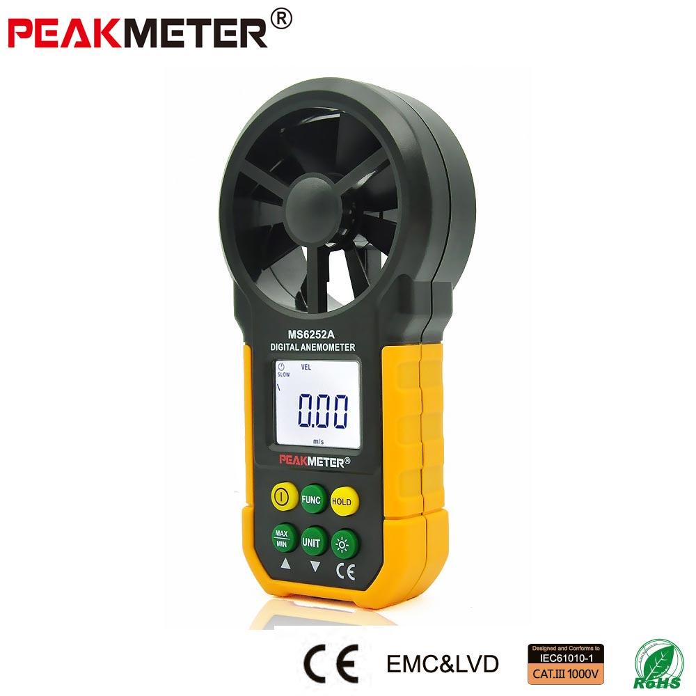 PEAKMETER MS6252A Velocity Meter  Wind Speed Test Meter Multifunction Digital Anemometer Tachometer/ Air Flow /Thermometer  цены